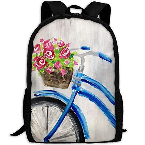 Mochila de Viaje para Adultos con Pinturas de Bicicleta Lsjuee, Mochila Escolar, Mochila Informal Oxford, Bolsa para Ordenador portátil al Aire Libre, Bolsos de Hombro para Ordenador