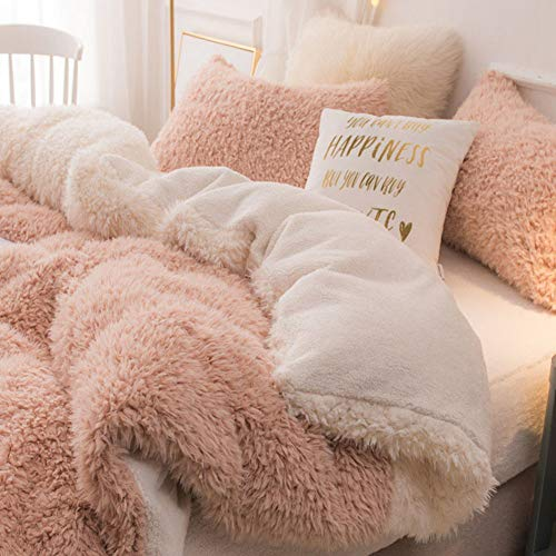 Plush Duvet Cover,Winter Double Duvet Cover Quilt,Reversible Breathable Smooth Bedding,Pink,78'X 90'