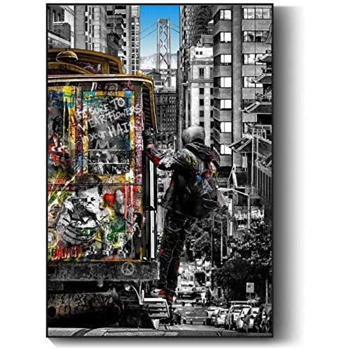 Banksy Murale Art Street Art Peintures Noir Blanc Londres City Peintures sur Toile Tableau Graffiti Pop Art Affiches Et Estampes Decoration à La Maison Tableaux sans Cadre 60x80cm
