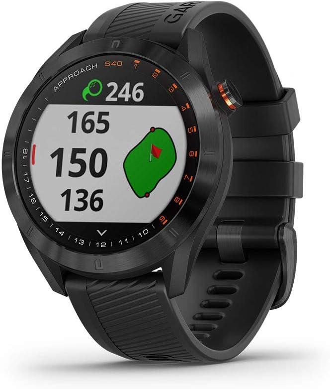 Garmin Approach S40, Stylish GPS Golf Smartwatch, Lightweight with Touchscreen Display, Black