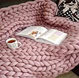 Coperta a maglia grossa, lavorata a maglia grossa, in lana grossa, coperta di lana molto grande, coperta per divano, coperta yoga