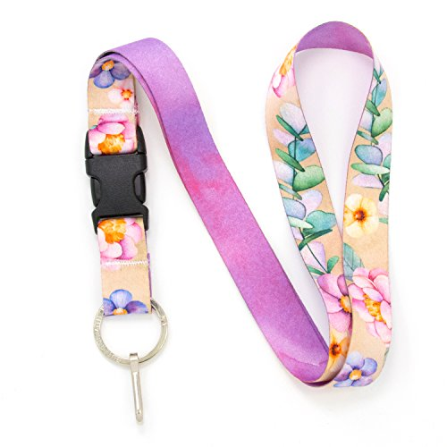 Buttonsmith Watercolor Flowers Premium Lanyard - with Buckle and Flat Ring - Made in The USA