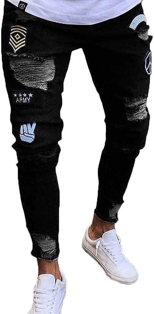 Nutriangee Men's Moto Biker Jeans Distressed Ripped Holes Skinny Slim Fit Denim Pants