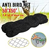 boknight 50' X 50' Net Netting for Bird Poultry Aviary Game Pens New 2.4' Square Mesh Size (50'×50'-2.4'')