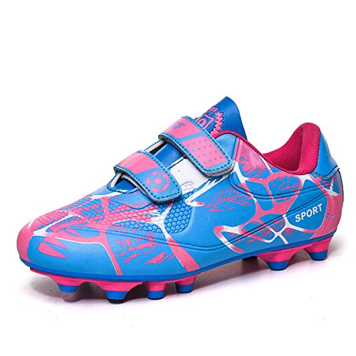 ElioGn Boys Girls Outdoor Soccer Shoes Athletic Actual Combat Training Shoes Hook and Loop Football Shoes (Little Kid/Big Kid Pink 28