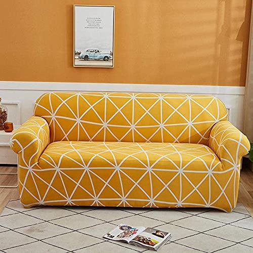 Sofa Schonbezug Stretch Elastischer Stoff Dreieckiges Muster Loveseat Couch Sofa Gelb Sofabezüge-Polyester Elasthan Bedruckte Sofa Schonbezüge Möbelschutzbezug,1 Kissenbezug(4 Sitzer)