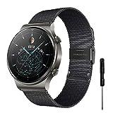 YHC Cinturino per Huawei Watch GT2/GT2 PRO Braccialetto,Compatibile con Huawei Watch GT/GT Active 46 mm (Nero)