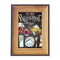 町で最高のレストランに勝ちます フォトフレーム、デスクトップ、木製
