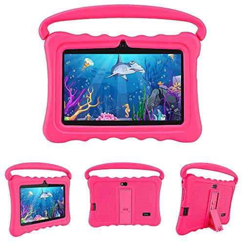 Tableta Para Niños 7 'HD | Quad Core Android 16GB | Tablet PC Con Wifi Bluetooth Cámara | Control Parental Y Software Para Niños Preinstalado Para Niños Para Juegos Educativos Con Estuche,Rose red