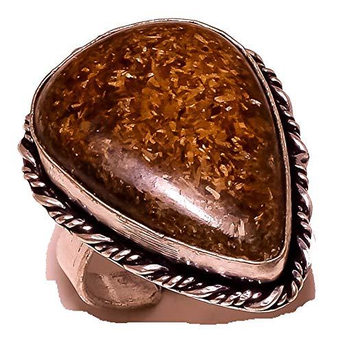 Anillo de Jaspe de madera marrón para niñas, joyería artística hecha a mano, chapada en plata de ley, variedad completa, anillo de tienda, tamaño 7.5 US (ajustable)