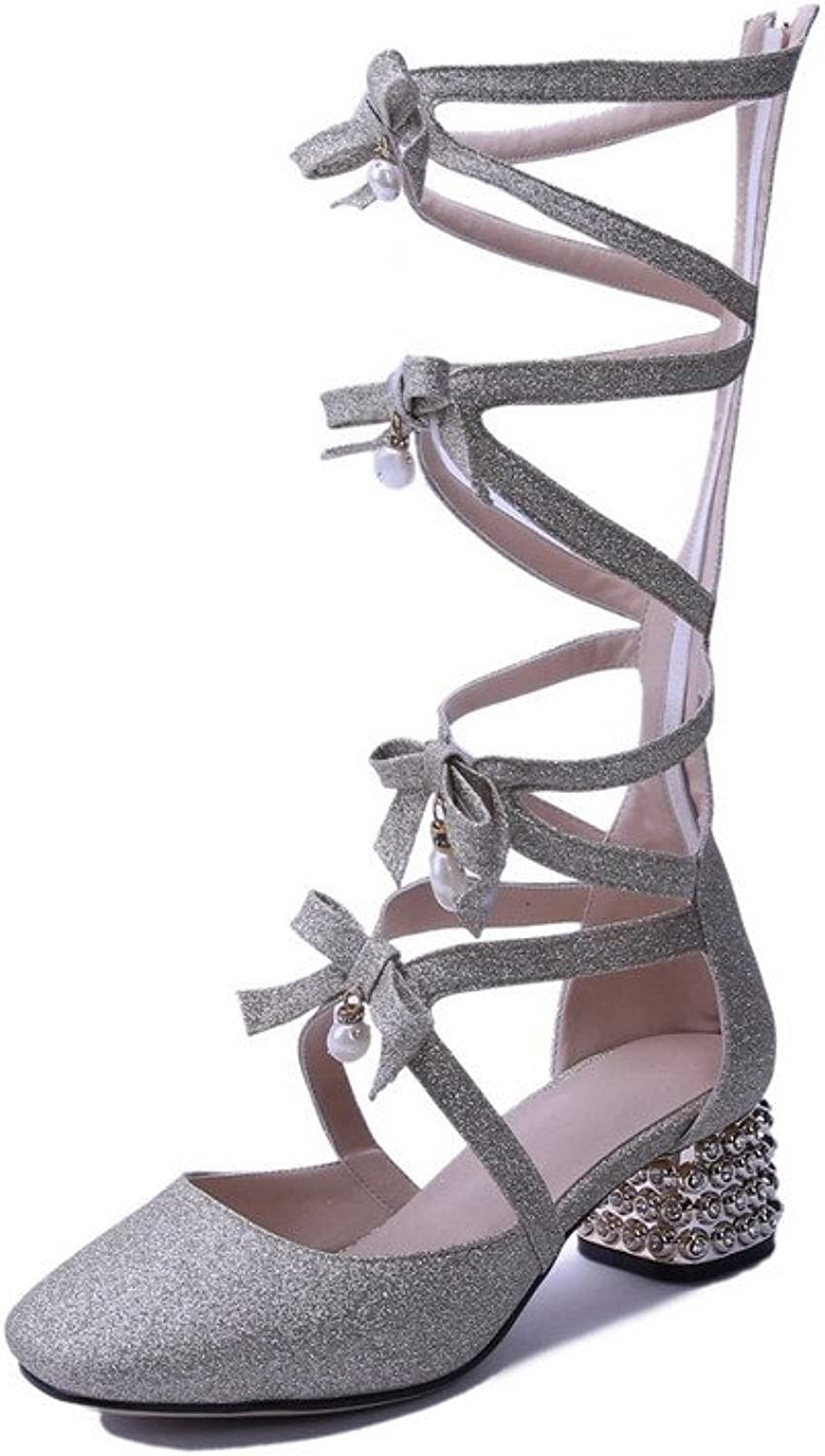 AllhqFashion Women's Patent Leather Zipper Square Closed Toe Kitten-Heels Solid Sandals
