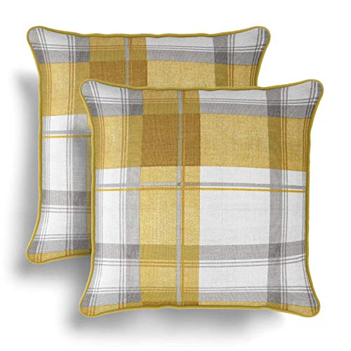 IT IDEAL TEXTILES Set of 2 Ochre Tartan Cushion Covers, Pair of Yellow Checked Design Cotton Cushion Covers, Piped Trim Cushion Cases, Sofa Chair Throw Pillow Cases, 17' x 17', 43cm x 43cm