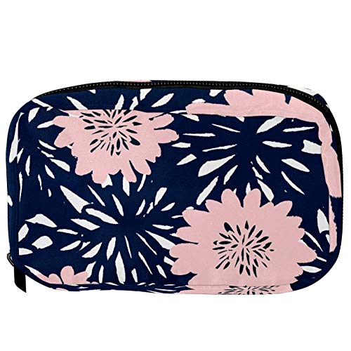 TIZORAX Cosmetic Bags Pink Flowers In Blue Handy Toiletry Travel Bag Organizer Makeup Pouch for Women Girls