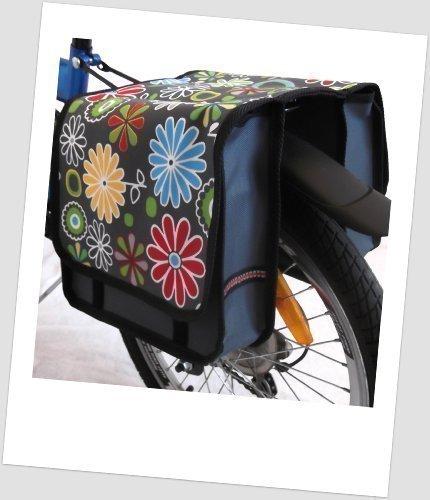Kinder-Fahrradtasche Joy Satteltasche Gepäckträgertasche Fahrradtasche 2 x 5 Liter: Farbe: 10 Flower Green