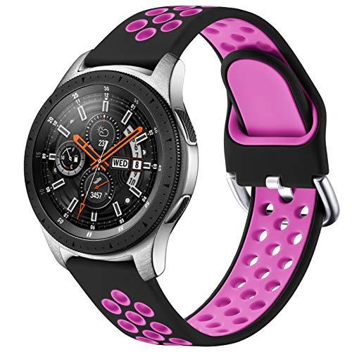 JUVEL Compatible con Samsung Galaxy Watch 3 45mm Correa/Samsung Gear S3 Correa, Silicona Suave de 22mm Correas de Repuesto Deportivas Transpirables para Huawei Watch GT2, Grande, Negro Púrpura