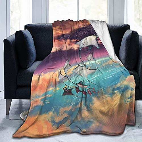 Manta Ray in Sky Fleece Cobija ultra suave para dormitorio, sofá y mantas, 156 x 127 cm