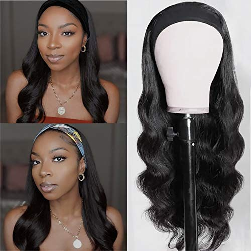 """Long Wavy Headband Wig for Black Women, 24"""" Long Black Body Loose Wave Curly Brunette Wig with Headband Attached, Synthetic Wigs for Black Women Natural Looking NONE Lace Replacement Wig Easy to Wear (Black)"""