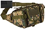Protector Plus Tactical Fanny Pack Military Running Waist Bag Sling Hip Belt MOLLE Army Lumbar Gear Pocket (Patch Included), Jungle Camo
