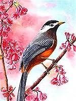大人の子供のための数字キットによるフレームレスDIY油絵ペイント-木の上の鳥30 * 40 Cm