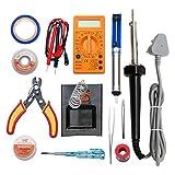 (12 in 1) starter kit 60watt soldering iron/digital multimeter/iron bit/solder stand/solder wire/desoldring pump/desolder wire/paste/cutter tester/tape/tweezer