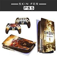 PS5コンソール用スキンステッカー、PS5 Disc Edition、PS5コンソール用ゲームコンソールカーボンファイバーステッカー、コントローラーをほこりや傷から保護します