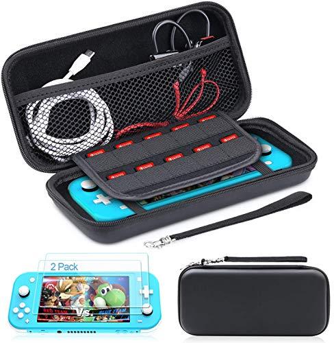 Funda para Nintendo Switch Lite, HeysTop Funda Protector Oortátil Transportar Compatible para Nintendo Switch Lite 2019, Vidrio Templado Protector de Pantalla para Nintendo Switch Lite (2 Piezas)
