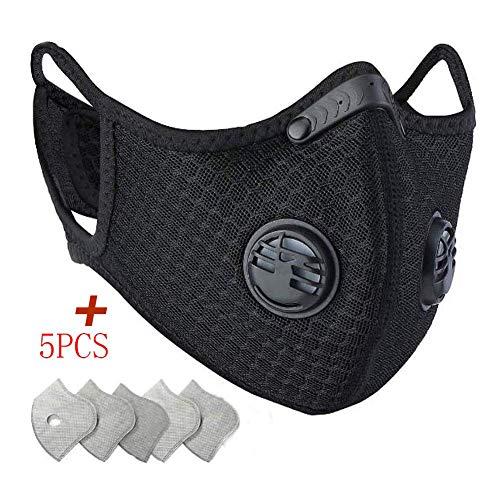 Maschera antipolvere antipolvere con 5 filtri in carbonio 2 valvole Saldatura | Maschera - Cap | Cappello | Bike | Sci | Caschi per elmetti | Maschera multifunzionale per la bocca