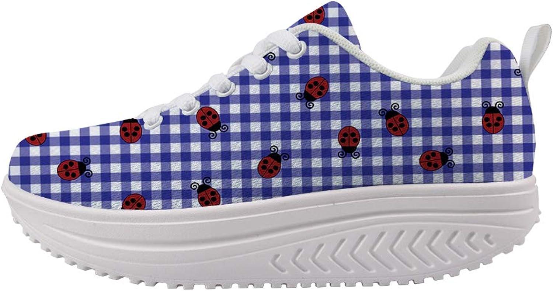 Owaheson Swing Platform Toning Fitness Casual Walking shoes Wedge Sneaker Women Ohio Symbol Ladybugs On Plaid