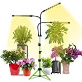 Plant Grow Light with Stand,3500K Sunlight Full Spectrum Floor Plant Growing Lamp for Indoor Plants, Tripod Stand Adjustable 15-47In, 5-Level Dimmable & Auto On/Off Timing