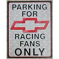 ブリキ看板 CHEVROLET RACING FANS ONLY (1078) シボレー サインプレート サインボード アメリカ雑貨 アメリカン雑貨