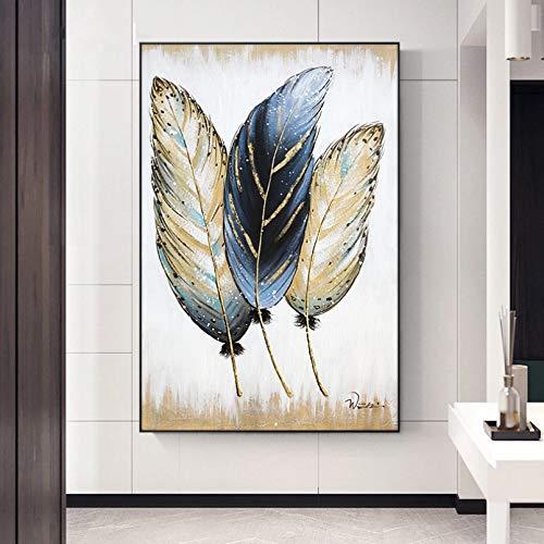 QAZEDC Pintura Mural Pintura al óleo Abstracta de la Pluma del Arte de la Pluma Dorada Impresa en la Lona Cuadros artísticos de la Pared para la decoración del hogar de la Sala de Estar