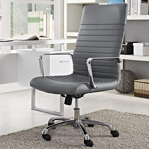 Finch Fox High Back Faux Leather Executive Office Desk Chair in Grey Color