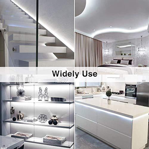 Ustellar Dimmable LED Light Strip Kit, 300 Units SMD 2835 LEDs, 16.4ft/5m 12V LED Ribbon, 6000K Daylight White Under Cabinet Lighting Strips, Non-waterproof LED Tape, UL Listed Power Supply