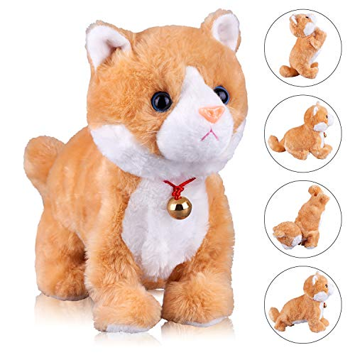 Yellow Robot Cat Plush Cat Stuffed Animal Interactive Cat , Meow Kitten Touch Control, Electronic Cat Pet, Robotic Cat Cat Kitty Toy, Animated Toy Cats for Girls Baby Kids L:12'