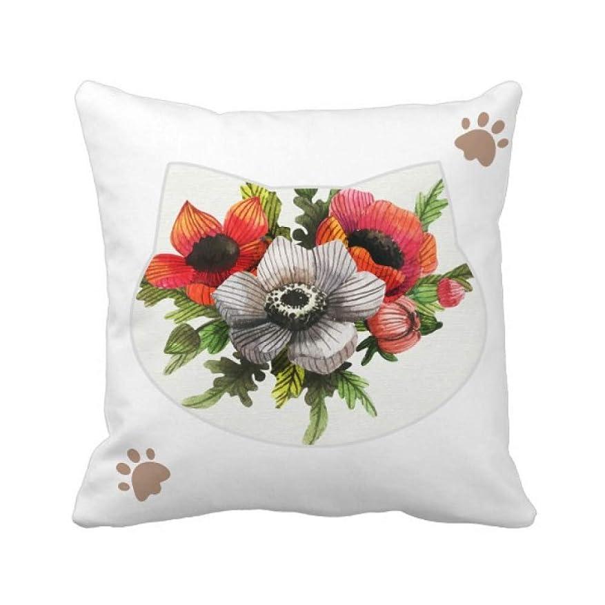 常に哀同種の植物の花の絵のヒナゲシ 枕カバーを放り投げる猫広場 50cm x 50cm