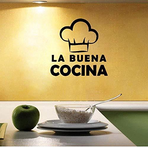 Muursticker muurschildering Spaanse taal muurstickers schattig koken hoed Vinyl muursticker Spanje woonkeuken decoratie 40 * 40 cm