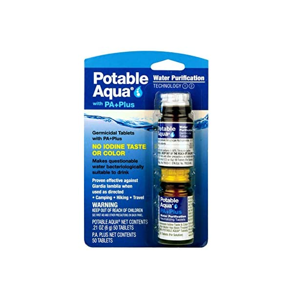 Potable Aqua Water Purification Tablets With PA Plus – Two 50 count Bottles