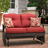Better Homes & Gardens Glider Bench Outdoor Loveseat with 2 Cushions and 2 Decorative Pillows, Seats 2 in Color Red