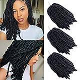 3 Paquetes Spring Twist Crochet Braid Extensión del cabello Afro Kinky Twist Hair Ondulado Rizado Malibob Trenzado Pelo sintético (1B, 8 pulgadas)