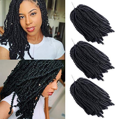 3 confezioni Spring Twist crochet Braid extension afro Kinky Mambo Twist capelli ricci ondulati Malibob trecce capelli sintetici (1B, 8inch)