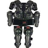 キッズキッズモーターサイクルボディアーマーセット、2つの肘パッドと2つの膝パッド、胸部背骨プロテクターガードベスト、バイク保護ジャケット、スキースノーボード用保護具