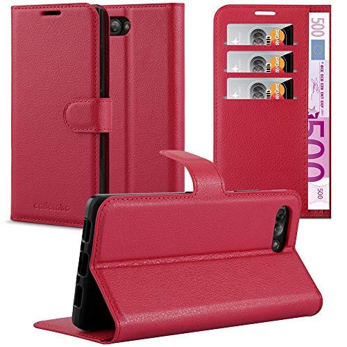 Cadorabo Hülle für BlackBerry Key 2 in Karmin ROT - Handyhülle mit Magnetverschluss, Standfunktion & Kartenfach - Hülle Cover Schutzhülle Etui Tasche Book Klapp Style