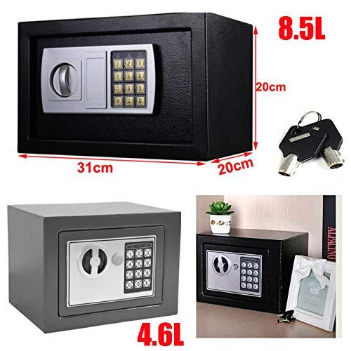 Elektronischer Safe Tresor Klein Minisafe Wandtresor Digital PIN-Code Tresor mit Sicherheitsschlüssel Stahlsafe Möbeltresor Wandsafe, 8.5L(31 x 20 x 20 cm), Grau
