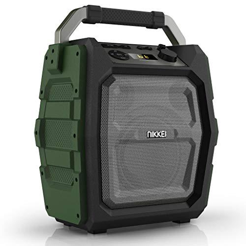 Party Bluetooth luidspreker, draagbaar, 30 watt speaker, met sterke bas, draagbare geluidsinstallatie met USB, Micro SD, AUX-ingang en microfoon, 20 uur batterij, muziekbox met karaoke-input, groen