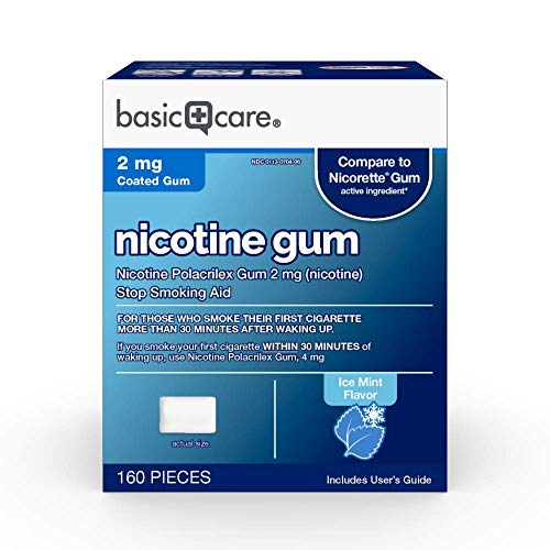 Basic Care Coated Nicotine Polacrilex Gum 2 Mg (Nicotine), Ice Mint Flavor, Stop Smoking Aid, 160Count