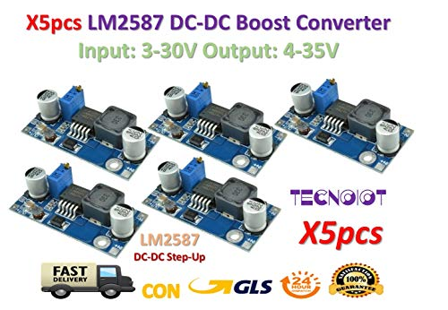 TECNOIOT 5pcs lm2587 DC-DC Boost Converter 3-30v Step up 4-35v Power Supply módulos Max 5a