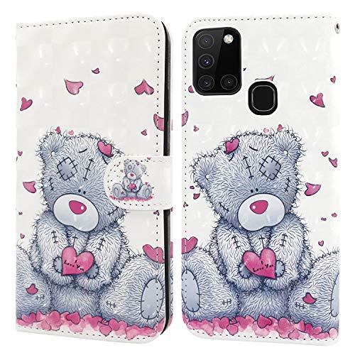 Ailisi Samsung Galaxy A21S Hülle Teddy Bear 3D Muster Handyhülle Schutzhülle PU Leder Wallet Case Flip Case Klapphüllen Brieftasche Ledertasche Tasche Etui im Bookstyle