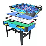 Pinty 4 in 1 Combo 48'' Foosball Game Table, Hockey Table, Soccer Table, Pool Table, Table Tennis/Ping Pang Table