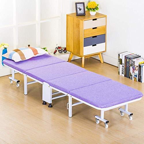 Silla de escritorio de oficina, cama plegable para siesta, moderna simplicidad, sofá de oficina, cama simple con rodillo reclinable de cuatro pliegues que puede moverse (color: morado, tamaño: 80 cm)
