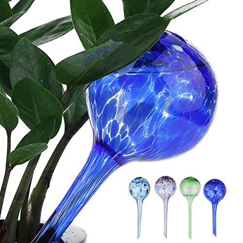 Moolon Automatic Watering Globes Pouring Bottle Green Plant Potted Automatic Ball Watering Flower Water Drip Irrigationdevice Device(Pack of 4)
